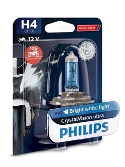 Halogen headlight for motorcycles Philips H4, 12 V, 60/55 W Crystal Vision