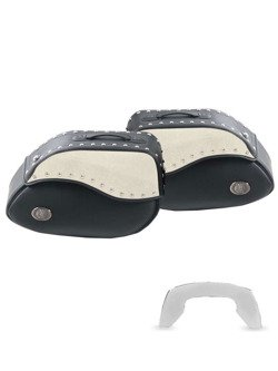 Hepco and Backer saddlebags IVORY for C-Bow Carrier White-black