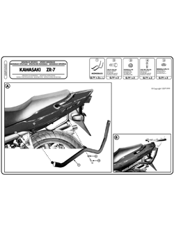 Specific rear rack for MONOKEY® or MONOLOCK® top case Kawasaki ZR 7 / ZR 7 S 750 99-04)