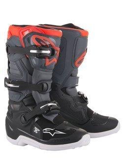 Buty off-road dziecięce Alpinestars Tech 7S czarno-szaro-czerwone fluo